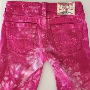 Girls True Religion Tie-Dye Pink Jeans